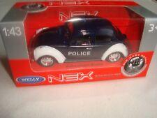 MINIATURE VOLKSWAGEN BEETLE COX  POLICE NEUF EN BOITE 1/43° WELLY