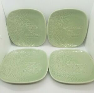 Maya Angelou Inspirational Decorative Plates Dessert Sea Foam Green Set of 4