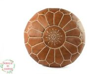 Round poufs Moroccan leather ottoman Berber floor pouf outdoor leather footstool