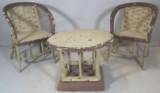 Vintage Miniature 3-Piece Dolls Bistro Set 2 Chairs & Table Furniture