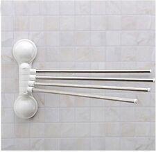 4 Barre 180 rotation porte-serviette support à ventouse mural salle de bain