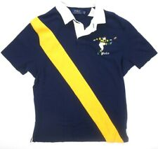 NEW POLO RALPH LAUREN NAVY BLUE YELLOW STRIPED EMBROIDERED RUGBY POLO SHIRT