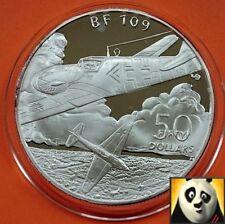 1991 Islas Marshall $50 dólares Bf 109 aviones de la segunda guerra mundial Segunda Guerra Mundial moneda de plata prueba