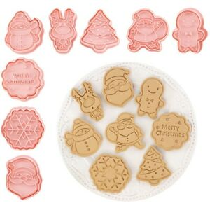8Pcs Christmas Cookie Cutter Fondant Biscuit Mold Cake Baking Decorating Tools