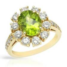 Certified 14k Y/Gold Ring With 4.10ctw Clean SI Diamonds & Peridot. Size 6.5 New