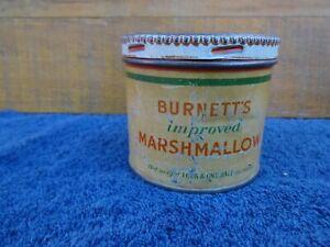 RARE Antique Burnett's Improved  Marshmallow Tin Can Advertising Boston, Mass