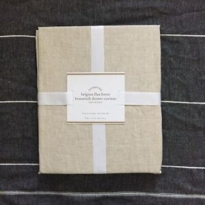 Pottery Barn BELGIAN FLAX LINEN HEMSTITCH SHOWER CURTAIN Flax