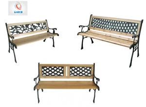 Wooden 3 Seater Garden Outdoor Indoor Park Patio Bench Cast Iron Legs In Designs