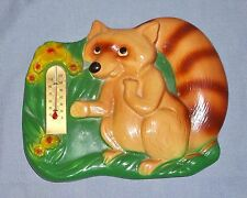 Vintage 1955 Miller Studio Chalkware Raccoon Wall Thermometer Plaque