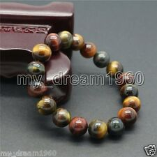 Genuine Natural 10mm Multi-Color Tiger Eye Stone Tiger's-Eye Gems Beads Bracelet