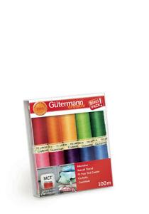 Gutermann Sew All Thread Set 100m x 10 reels - Brights 734006-3