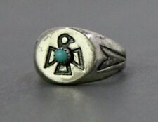 Bell Trading Post Sterling Silver Turquoise Ring, Thunderbird Silver Ring (#2)
