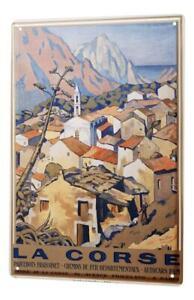 Plaque Émaillée  Murale Aventurier Corse France Publicité