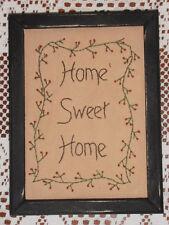 "Framed Primitive Stitchery, ""Home Sweet Home"", Hand Stitched, Sampler, Rustic"