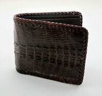 New Brown Alligator Crocodile Genuine Leather Tail Men Bi-fold Hemstitch Wallet.