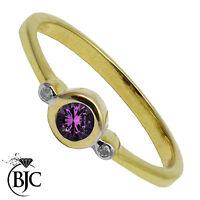 BJC 9 ct Oro amarillo Amatista & Diamante Trilogía 3 piedras