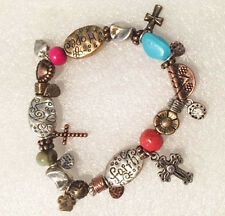 Faith Hope Love Bracelet Cross Silver Gold Copper Tri-color Inspirational