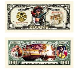 USA AMERICAN ONE MILLION DOUBLOONS DOLLAR NOVELTY NOTE US PIRATE EDITION NEW