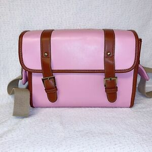 ZLYC Pink Faux Leather Camera Bag Case with Padded Inserts Messenger Purse