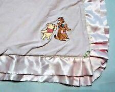 Walt Disney Collections Pink Baby Blanket Winnie the Pooh Kanga & Roo Satin