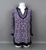 DANA BUCHMAN Women's Sz.XS Liquid Knit Paisley Print Tunic Top-3/4 Sleeves-EUC