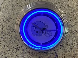 Dallas Cowboys NFL Neon Light Chrome Finish Wall Clock