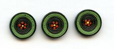 """3 COOL GLASS buttons--PAINTED FLOWER in CENTER--GREEN PAINTED RING--3/4"""""""