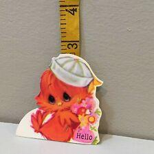 Vtg Valentine Card 70s Big Eyes Hallmark Little Bird Sailor Hat  Pink Unused