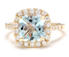 3.10 Carats Natural Aquamarine and Diamond 14K Solid Yellow Gold Ring