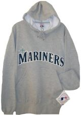 SEattle Mariners MLB Gray Majestic Patch HOODIE Mens M