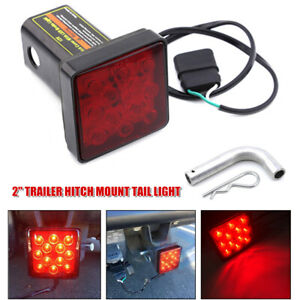 "2"" Trailer Hitch Mount Tail Light Brake Light Fog Lamp 12LED Tow Bar Lamp w/Pin"