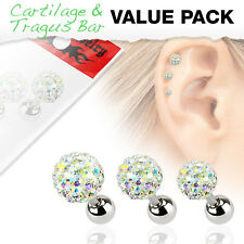 3 Pcs Ferido Ball Surgical Steel Helix Tragus Cartilage Barbell Stud Earring