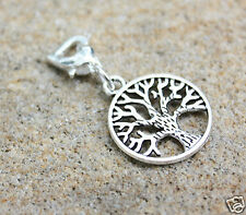 Tree Of Life Heart Clasp Silver tone Clip On Charm, Zipper Pull charm new