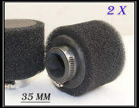 2x 35mm Dual Foam Pod/Air Filter/Cleaner Dirt/Pit Quad /ATV Bike Buggy Go Kart