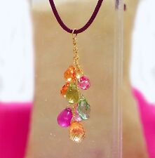 cluster necklace genuine sapphire tourmaline topaz gemstone briolettes 18k gold