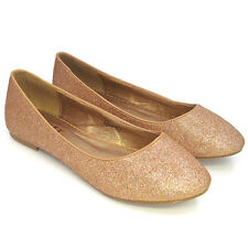 Womens Flat Pumps Ladies Glitter Ballet Ballerina Dolly Bridal Shoes Size 3-8