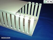 """4 New 6""""x4""""x2m Wide Finger Open Slot Wiring Duct/Cable Raceway with Cover, White"""