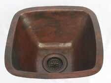 """15"""" Square Hand Hammered Copper Bar Prep Kitchen Sink with 3.5"""" Drainhole"""