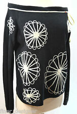 Desigual Black Ivory Embroidered Floral Top Sweater Angora Beaded Tie Top SZ XL