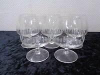 5 x Design Cognacglas - Handgeschliffen - Vintage