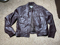 WOMENS NINE WEST GENUINE LEATHER BROWN BUTTON UP CAFE MOTO JACKET SZ 12
