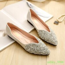 Womens Pointed Toe Rhinestone V Flats Pumps Loafer Shoes bridesmaid 34-43 Hot