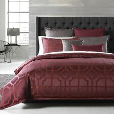 NEW Hudson Park Bedding Artesia KING Duvet Cover Merlot Red $355 G2893