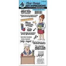 New ART IMPRESSIONS RUBBER STAMP clear cling set TEACHERS RULE free us ship