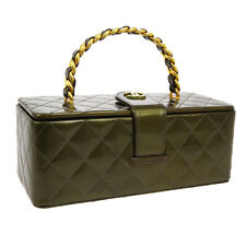 CHANEL Quilted CC Chain Cosmetic Vanity Hand Bag 3608154 Green Patent JT08780