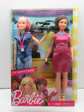 Barbie Career TV News Team Camera Woman and Anchor 2 Dolls Gift set Mattel