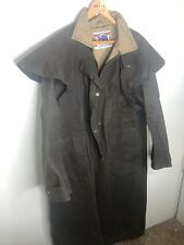 Koolah Medium Brown Long Riding Coat Cracked Wax Duster