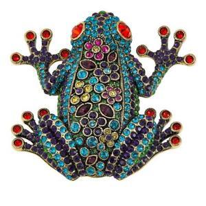 Heidi Daus Signed Kiss Me Fabulous Frog Pin Brooch CRYSTALS MUST!!!!