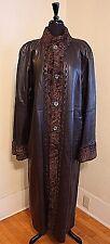 STUNNING! Leather Lambskin Persian Wool Fur Reversible Brown Long Coat Jacket XL