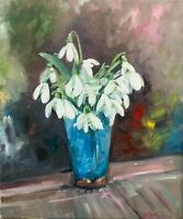 30 x 40 cm original oil painting art on stretched canvas snowdrops  home decor